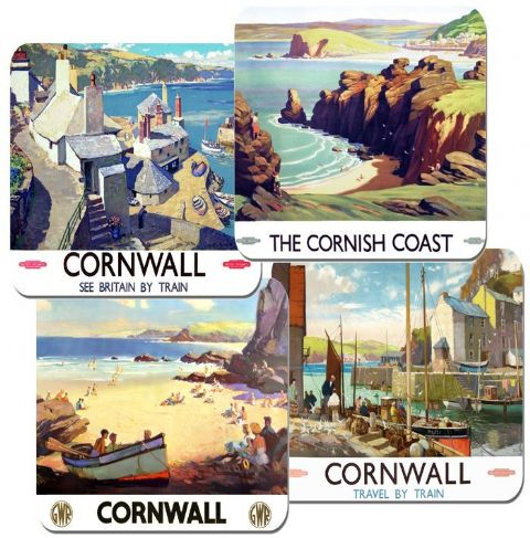 Cornwall By Rail Vintage Poster Coasters Set Of 4 Train Travel High Quality Cork